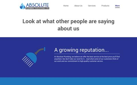 Screenshot of Testimonials Page absoluteplumbing.ca - Heating   Delta, BC   Absolute Plumbing Solutions - captured Oct. 1, 2014