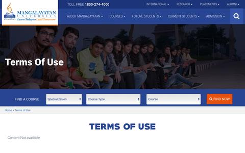 Screenshot of Terms Page mangalayatan.in - Terms of Use - captured Sept. 12, 2016
