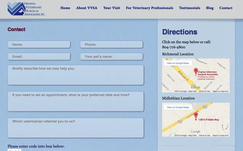 Screenshot of Contact Page Maps & Directions Page vvsarichmond.com - How Can We Help You? | Virginia Veterinary Surgical Associates | Virginia Veterinary - captured Oct. 26, 2014