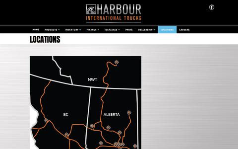 Screenshot of Locations Page harbourint.ca - Harbour International Trucks   Inventory for sale in Langley, BC V1M 0B8 - captured July 16, 2017