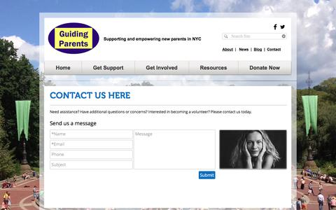 Screenshot of Contact Page guidingparents.org - GUIDING PARENTS | Supporting and empowering new parents in NYC | Contact - captured Nov. 16, 2016