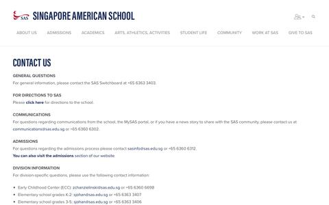 Screenshot of Contact Page sas.edu.sg - Contact Page - Singapore American School - captured Oct. 20, 2018