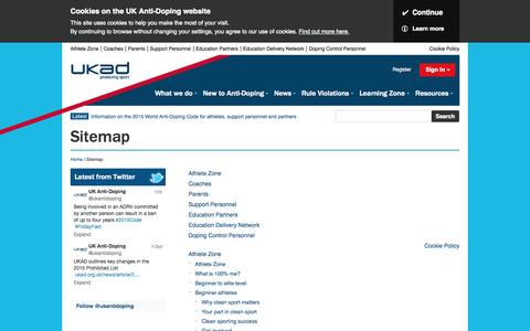 Screenshot of Site Map Page ukad.org.uk - UK Anti-Doping - Protecting the right to participate in clean sport - captured Oct. 3, 2014