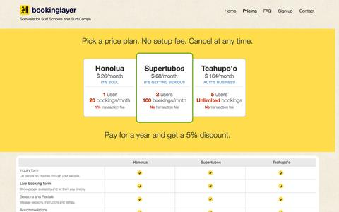 Screenshot of Pricing Page bookinglayer.com - Bookinglayer - Software for Surf Schools and Camps - Pricing - captured Sept. 30, 2014