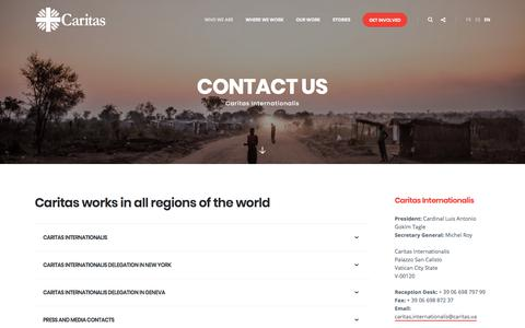 Screenshot of Contact Page caritas.org - Contact - Caritas - captured July 13, 2018