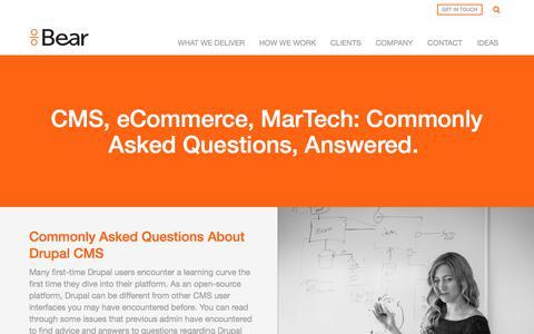 Screenshot of FAQ Page beargroup.com - CMS Platform, eCommerce, and MarTech FAQ | Bear Group - captured June 1, 2017