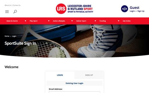 Screenshot of Login Page lrsport.org - SportSuite Sign In | Leicester-Shire & Rutland Sport - captured Jan. 15, 2017