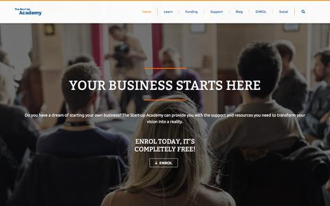 Screenshot of Home Page startupacademy.org.uk - The Start Up Academy - captured Feb. 23, 2016