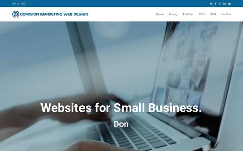 Screenshot of Home Page dmarketingllc.com - Websites for Small Business | Dominion Marketing Web Design - captured Sept. 20, 2019