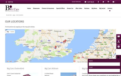 Screenshot of Contact Page Locations Page big-cars.co.uk - Contact Us   Big Cars - captured Nov. 21, 2016