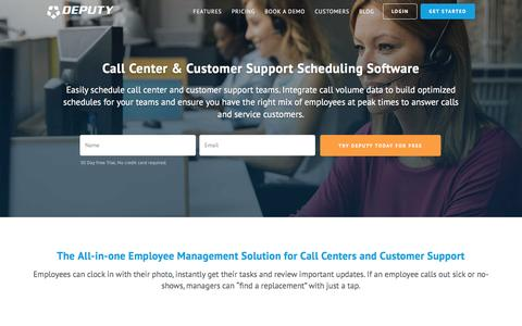 Screenshot of Support Page deputy.com - Call Center & Customer Support Scheduling Software, Communication & Task Management   Deputy - captured Oct. 21, 2016