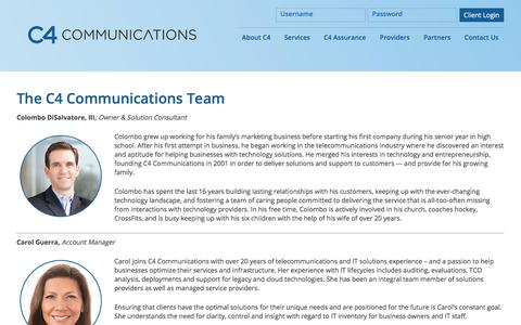Screenshot of Team Page c4communications.com - The C4 Communications Team - Technology Consulting - Connecticut & Nationwide - captured Sept. 25, 2018