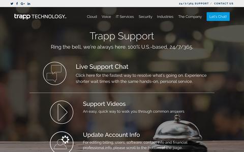 Screenshot of Support Page trapptechnology.com - Support | Trapp Technology - captured Aug. 19, 2018