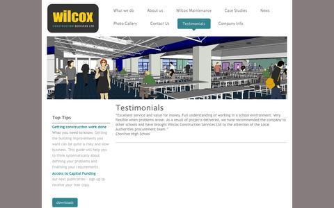 Screenshot of Testimonials Page wilcoxconstruction.co.uk - Wilcox Construction Services Ltd - Construction, Construction Design and Project Management - Testimonials - captured Oct. 26, 2014