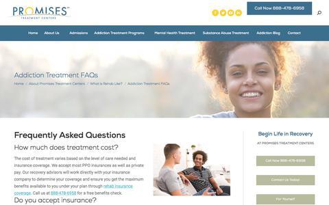 Screenshot of FAQ Page promises.com - Addiction Treatment FAQs | Promises Treatment Centers - captured Sept. 27, 2019