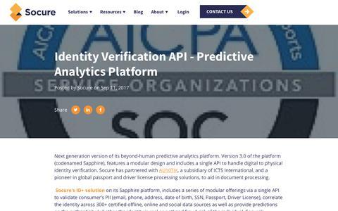 Screenshot of Press Page socure.com - Identity Verification API - Predictive Analytics Platform - captured Oct. 18, 2019