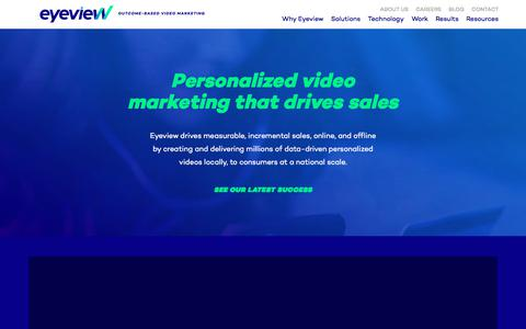 Screenshot of Home Page eyeviewdigital.com - Outcome-Based Video Marketing | Eyeview - captured Sept. 16, 2019