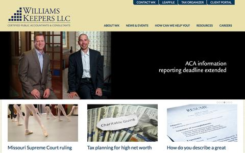 Screenshot of Home Page williamskeepers.com - Williams-Keepers LLC   Certified Public Accountants and Consultants - captured Feb. 23, 2016