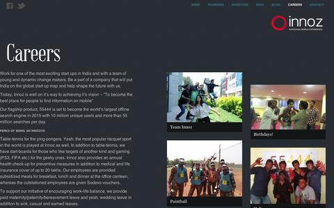 Screenshot of Jobs Page innoz.in - Innoz  » Careers - captured Sept. 10, 2014