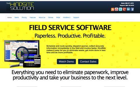 Screenshot of Home Page hindsitesoftware.com - Field Service Software for Service Businesses | HindSite Software - captured Sept. 24, 2014