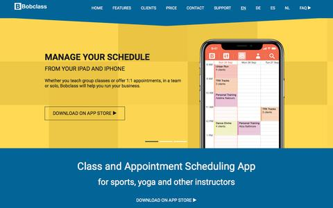 Screenshot of Home Page Contact Page Support Page bobclass.com - Bobclass - Class and Appointment Scheduling App - captured Aug. 3, 2018