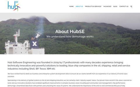 Screenshot of About Page hubse.com - About Us | HubSE – Demurrage Software - captured Nov. 11, 2018