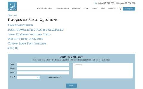 Screenshot of FAQ Page larsenjewellery.com.au - FAQ   Larsen Jewellery - captured July 16, 2018