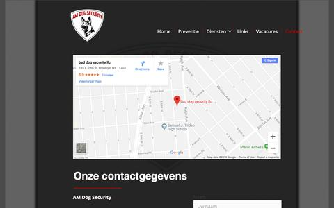 Screenshot of Contact Page am-dog-security.nl - Contact - AM Dog Security - captured Dec. 9, 2018