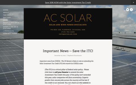 Screenshot of Press Page acsolar.com - News — AC Solar - captured Feb. 4, 2016