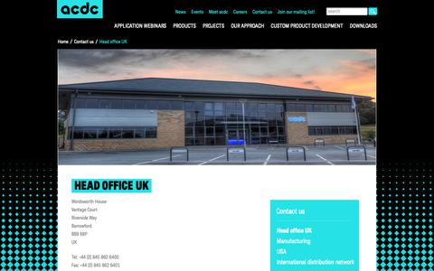 Screenshot of Contact Page acdclighting.co.uk - Head office UK - acdc - captured Oct. 2, 2018
