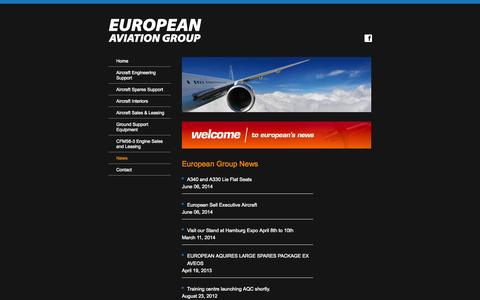 Screenshot of Press Page euroav.com - European Group - News - captured Oct. 1, 2014