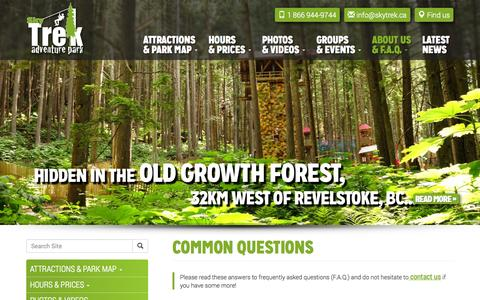 Screenshot of FAQ Page skytrekadventurepark.com - COMMON QUESTIONS - Skytrek Adventure Park, Revelstoke, BC - captured Nov. 2, 2014