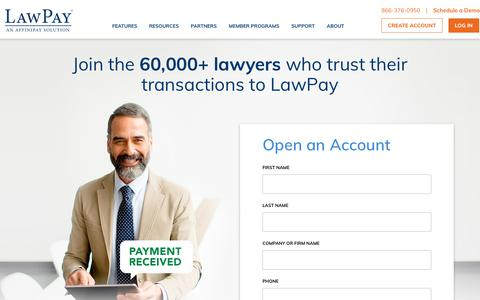 Screenshot of Signup Page lawpay.com - Sign Up | LawPay - The experts in legal payments - captured Aug. 15, 2019