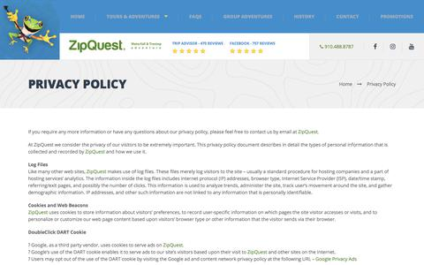 Screenshot of Privacy Page zipquest.com - Privacy Policy - Zip Line North Carolina - captured Oct. 19, 2017