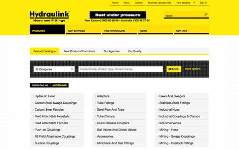 Screenshot of Products Page hydraulink.com - Hydraulink NZ Product Catalogue - captured Oct. 3, 2014