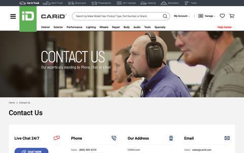 Screenshot of Contact Page carid.com - CARiD.com - CONTACT US - captured June 8, 2019