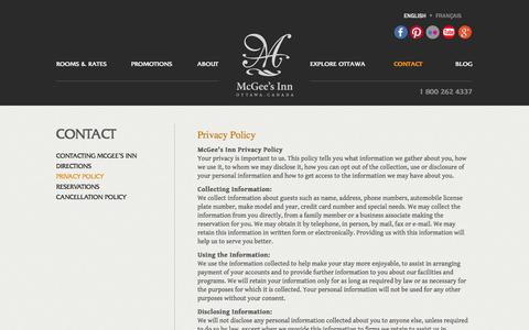 Screenshot of Privacy Page mcgeesinn.ca - McGee's Inn | Contact | Privacy Policy | - captured Oct. 27, 2014