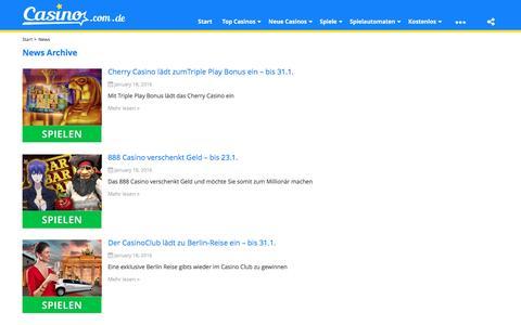 Screenshot of Press Page casino.com.de - News Archiv | www.casino.com.de - captured Jan. 21, 2016