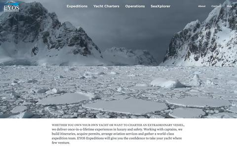 Screenshot of Home Page eyos-expeditions.com - EYOS Expeditions | Yachts | Operations | Specialists - captured Dec. 7, 2018