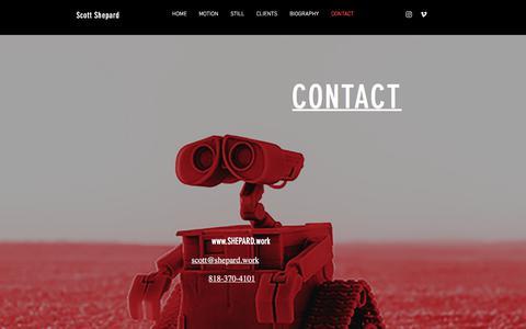 Screenshot of Contact Page shepard.work - Director Of Photography | Scott Shepard | CONTACT - captured July 18, 2018
