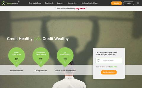 Screenshot of Home Page creditmantri.com - Free Equifax Credit Score - Compare & Apply for Loans & Credit Cards - captured Sept. 30, 2018