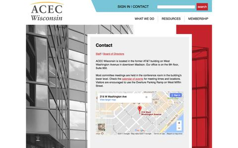 Screenshot of Contact Page acecwi.org - Contact   ACEC WI - captured Oct. 8, 2017