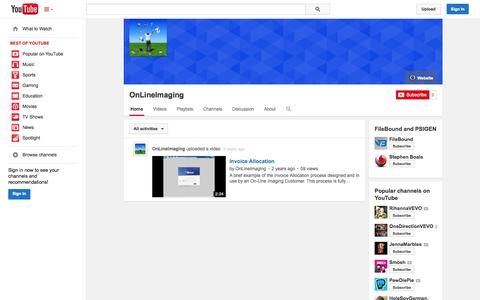 Screenshot of YouTube Page youtube.com - OnLineImaging  - YouTube - captured Oct. 29, 2014