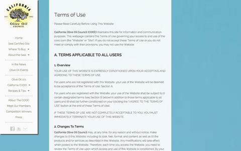 Screenshot of Terms Page cooc.com - Terms of Use - captured Oct. 1, 2014