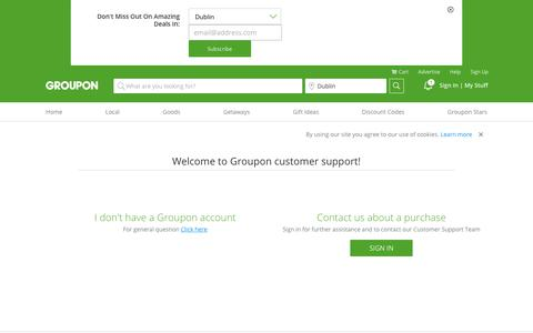 Screenshot of Contact Page Support Page groupon.ie - Contact Us - captured Sept. 23, 2018
