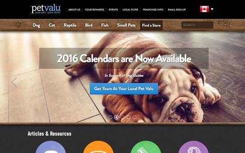 Screenshot of Home Page petvalu.com - Pet Valu Pet Store | Pet food, Treats and Supplies - captured Dec. 8, 2015