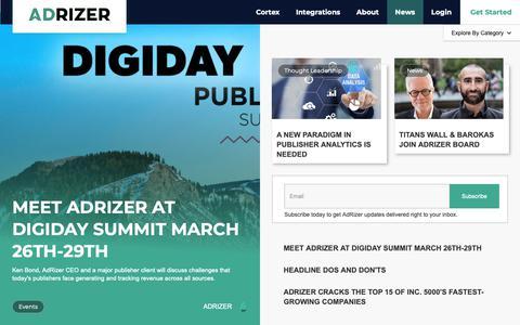 Screenshot of Press Page adrizer.com - Blog - captured Feb. 14, 2019