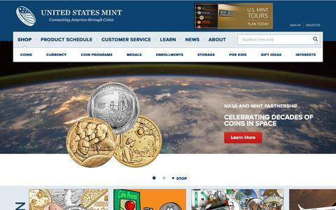 Screenshot of Home Page usmint.gov - U.S. Mint - captured July 12, 2019
