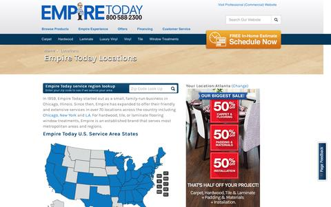 Screenshot of Locations Page empiretoday.com - Service Area Regions & U.S. Map | Empire Today - captured July 13, 2016
