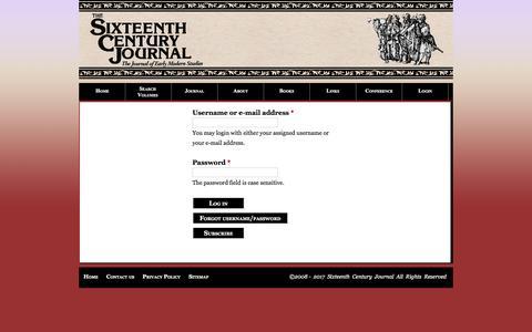 Screenshot of Login Page escj.org - User account | Sixteenth Century Journal - captured Feb. 1, 2017
